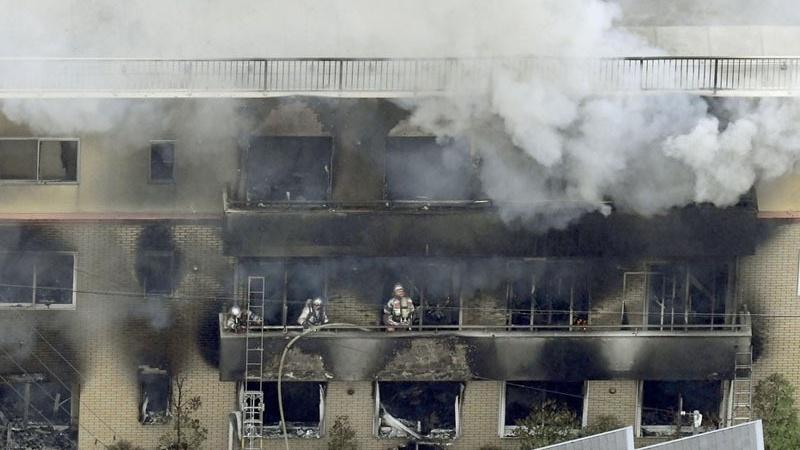 जापान स्टूडियो पर हमला, 33 लोग हताहत।