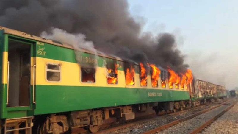 पाकिस्तान – ट्रेन में सिलेन्डर फटने से भीषण धमाका, 62 हताहत