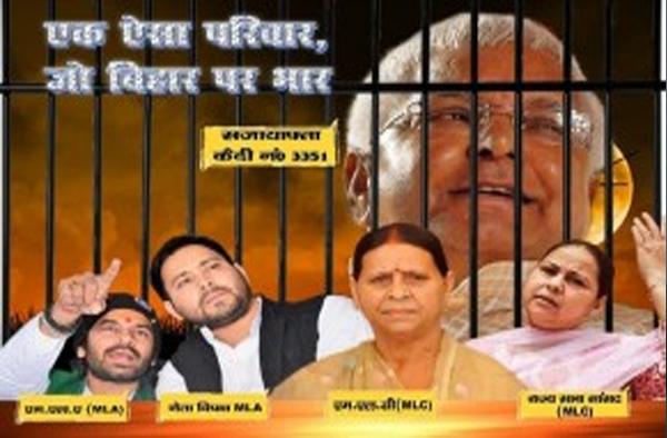 बिहार चुनाव – जदयू ने पोस्टर के जरिये लालू को बताया 'कैदी नंबर 3351'
