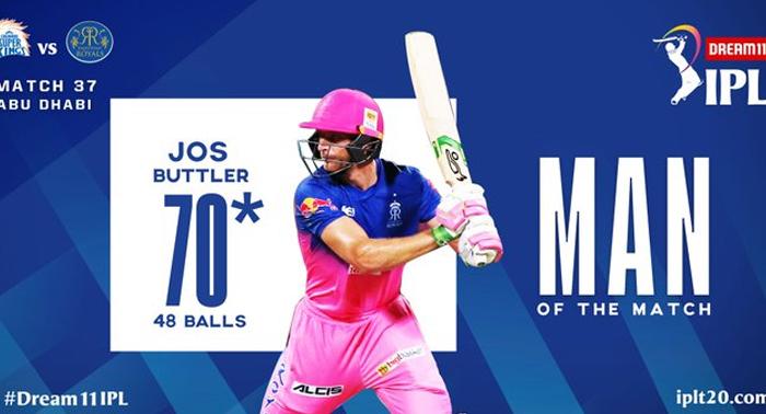 आईपीएल 2020 – राजस्थान ने चेन्नई सुपर किंग्स को 7 विकेट से हराकर आसान जीत की दर्ज