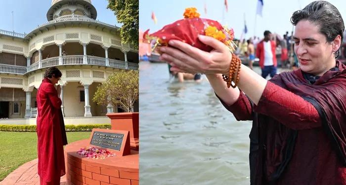 प्रियंका का नया अवतार, हाथ में रुद्राक्ष, माथे पर तिलक, गंगा में डुबकी लगाकर भाजपा को देता हुआ एक सन्देश…!!