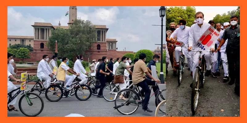 राहुल ने साइकिल से संसद पहुंचकर किया बेतहाशा बढ़ती मंहगाई का विरोध