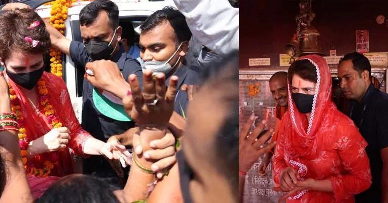 प्रियंका ने चुरवा हनुमान मंदिर में पूजा कर, शुरू किया रायबरेली का दौरा